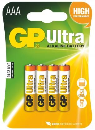 Alkalické baterie Baterie GP Ultra Plus, AAA, 4ks