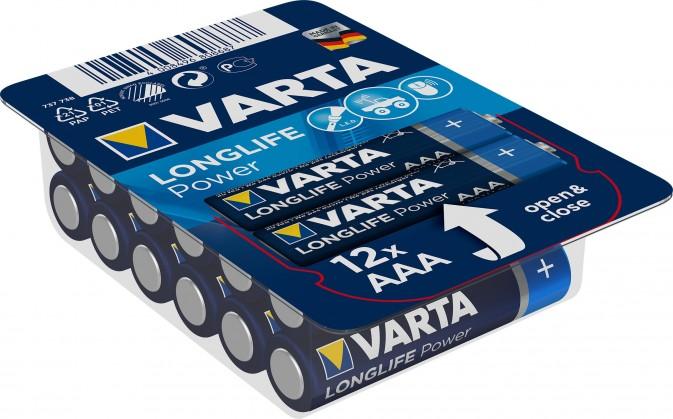 Alkalické baterie Baterie Varta Longlife Power, AAA, 12ks