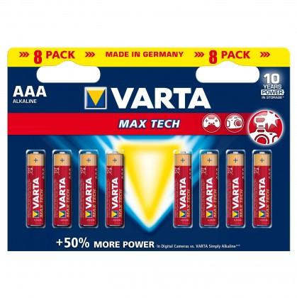 Alkalické baterie Baterie Varta Max Tech, AAA, 8ks