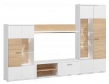 Amber - Obývací stěna (bílá/dub jantarový)