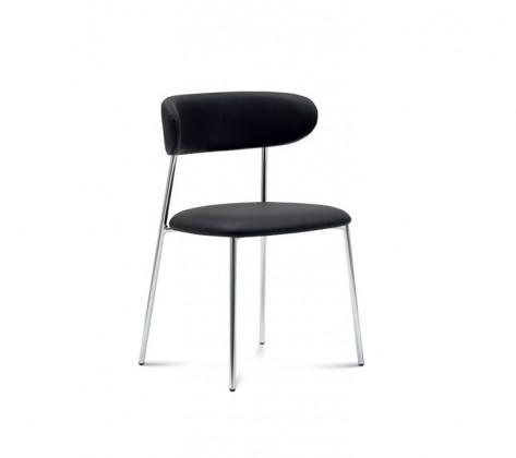 Anais - Jídelní židle (chromovaná ocel, eko kůže černá)