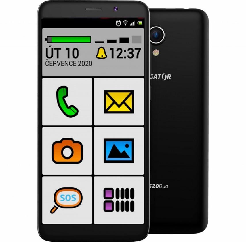 Android Mobilní telefon ALIGATOR S5520 SENIOR 1GB/16GB, černý POUŽITÉ, NE