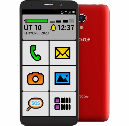 Android Mobilní telefon Aligator S5520 Senior 1GB/16GB, červená