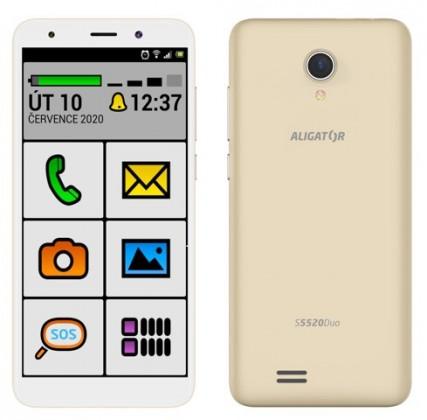 Android Mobilní telefon Aligator S5520 Senior 1GB/16GB, zlatá