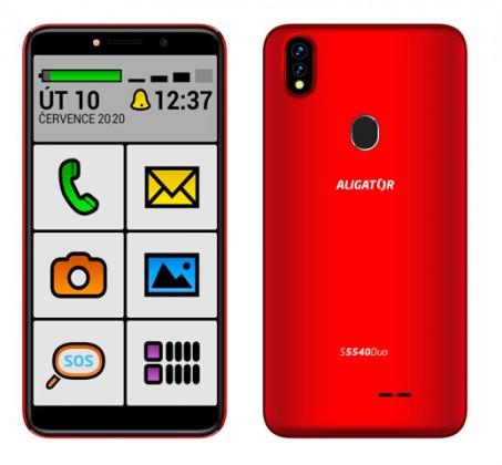 Android Mobilní telefon Aligator S5540KS 2GB/32GB, Kids+Senior, červená