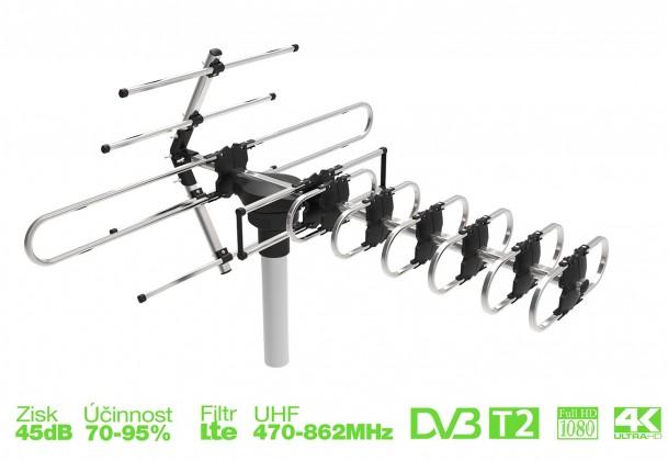 Anténa EVOLVEO GT, aktivní venkovní DVB-T/T2 anténa, 45dB ROZBALENO
