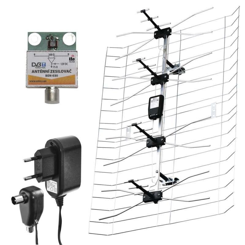 Antény TV anténa Emos EM-030, aktivní, venkovní, 0-100km