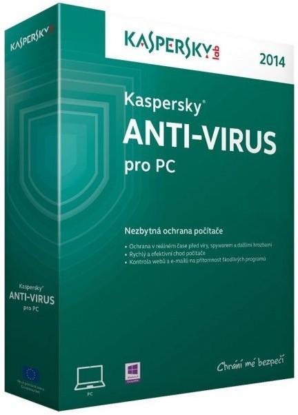 Antivirové programy Kaspersky Anti-Virus 2014 CZ 1 PC 1 rok - Box