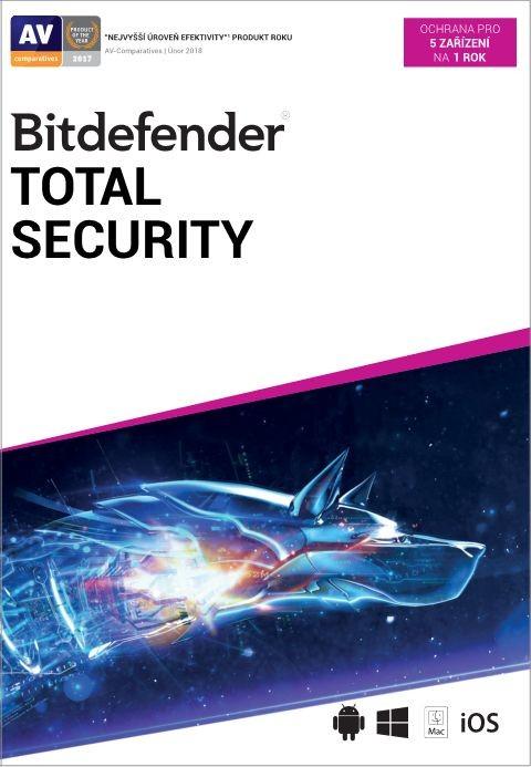 Antivirový program Bitdefender Total Security, 5 zařízení, 1 rok