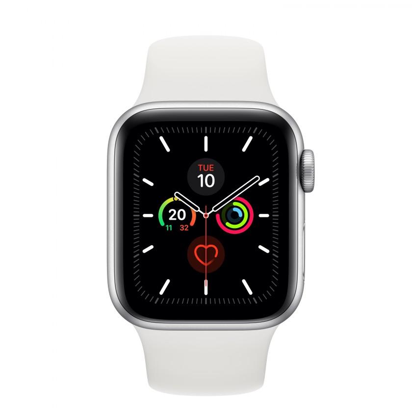 Apple Watch Series 5 GPS, 40mm, stříbrná, sportovní řemínek