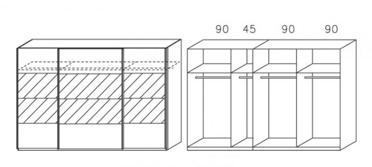 Apulien - Skříň s posuvnými dveřmi, 3 dveře
