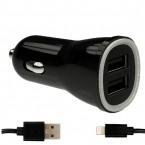 Autonabíječka 2 x USB (3,1A) + kabel MFI Lightning (Černá)