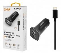 Autonabíječka Aligator 2xUSB 2,4A + kabel Lightning, černá