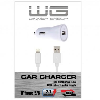 Autonabíječka colour USB (2,1A)+dat.kabl iph 5/6/bílá