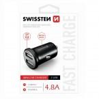 Autonabíječka Swissten 2xUSB 4,8A, kovová, černá