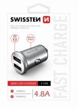 Autonabíječka Swissten 2xUSB 4,8A, kovová, stříbrná