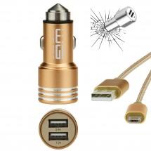autonabíječka USB (2,4A)+dat. kabel AL micro usb zlatá