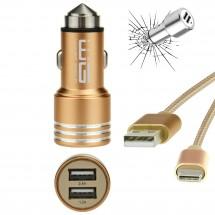 Autonabíječka USB (2,4A)+dat. kabel AL usbTYPE C zlatá