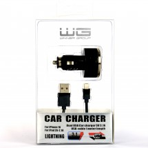 Autonabíječka WG 2xUSB s kabelem Lightning, černá