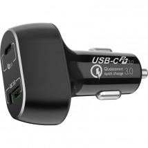 Autonabíječka WG USB-C + USB, 63W, s kabelem, černá