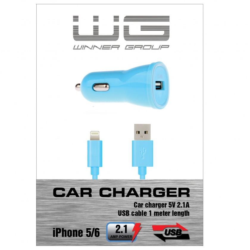 Autonabíječky (12V) Autonabíječka colour USB (2,1A)+dat.kabl iph 5/6/modrá