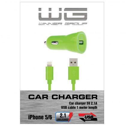 Autonabíječky (12V) Autonabíječka colour USB (2,1A)+dat.kabl iph 5/6/zelená