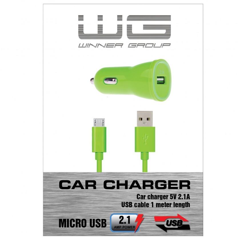 Autonabíječky (12V) Autonabíječka colour USB (2,1A)+dat. kabl micr-USB/zelená