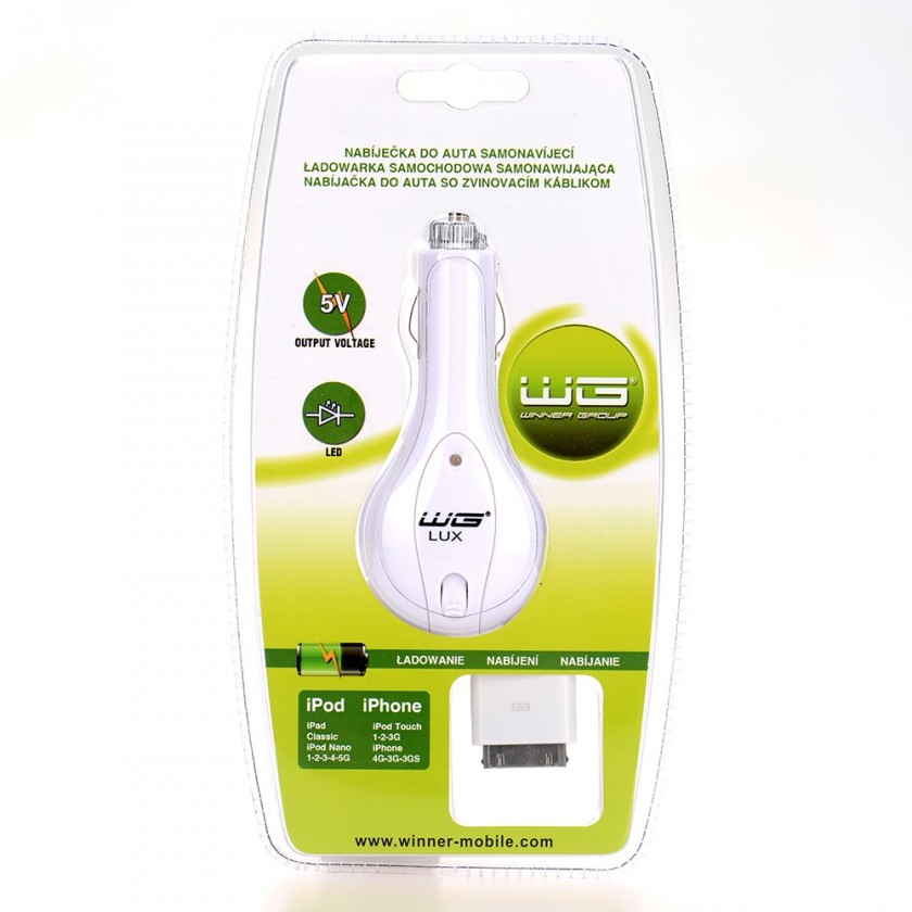 Autonabíječky (12V) Car charger retractable WG LUX  iPhone 3G/iPhone 4/iPhone 4S/iPo