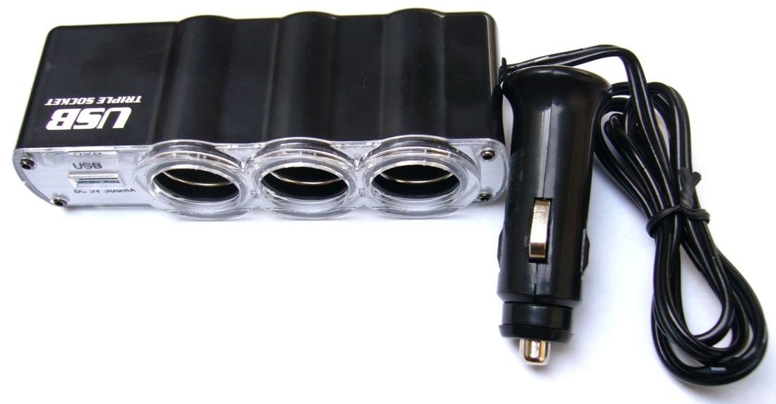 Autonabíječky (12V) Rozbočovač 3x12V + USB port ROZBALENO