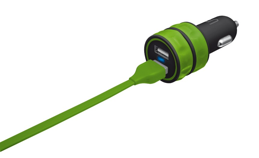 Autonabíječky (12V) Trust 20W Car Charger with 2 USB ports - lime green
