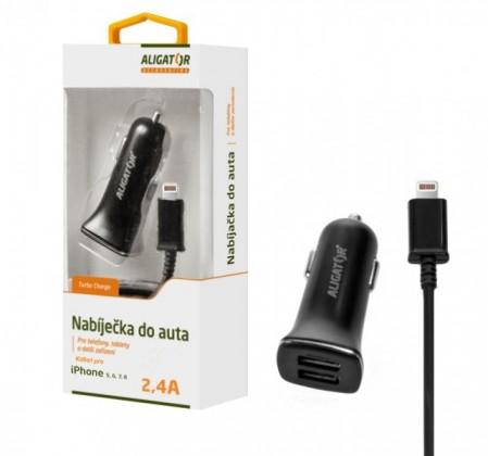 Autonabíječky Autonabíječka Aligator 2xUSB 2,4A + kabel Lightning, černá