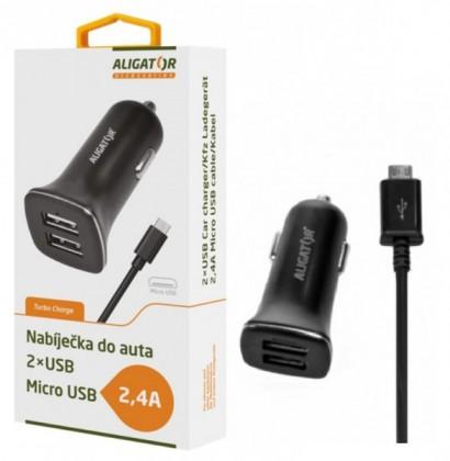 Autonabíječky Autonabíječka Aligator 2xUSB 2,4A + kabel Micro USB, černá