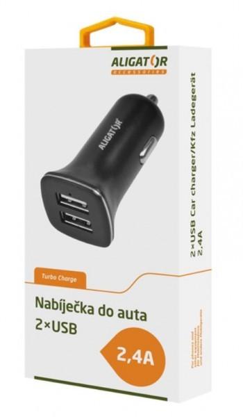 Autonabíječky Autonabíječka Aligator 2xUSB 2.4A Turbo charge, černá