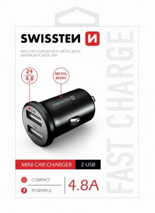Autonabíječky Autonabíječka Swissten 2xUSB 4,8A, kovová, černá