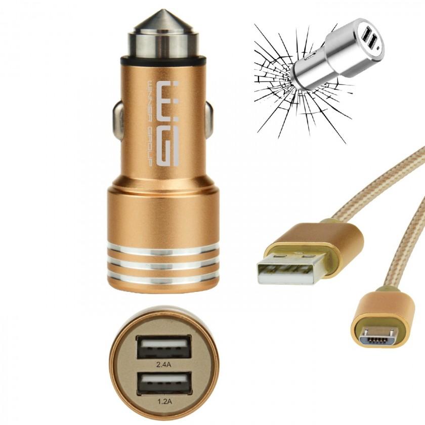 Autonabíječky Autonabíječka WG 2xUSB 2,4A + kabel Micro USB, zlatá
