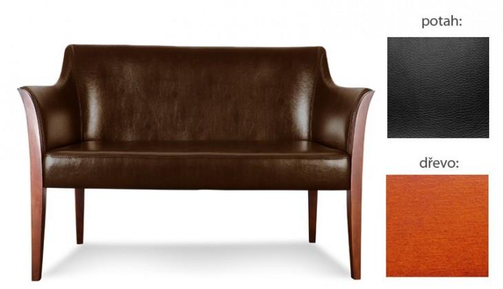 Bari - 2-sedák (extra leather black / dřevo č. 3)