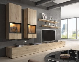 Baros - Obývací stěna, 2x vitrína, TV stolek, 2x police