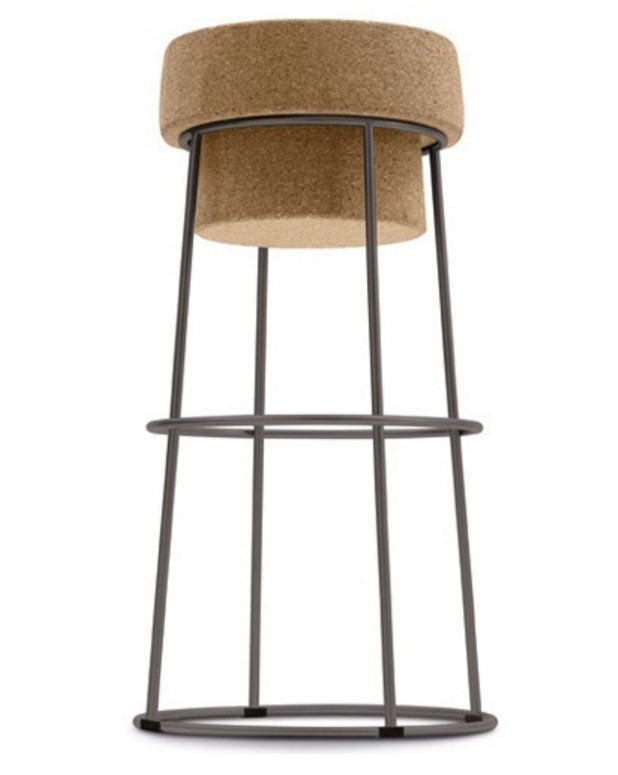 Barová židle Bouchon Sga - Barová židle (antracit mat, přírodní korek)