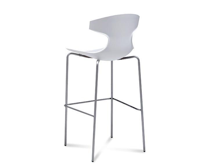 Barová židle Echo-Sgb - Barová židle (chrom, bílá)