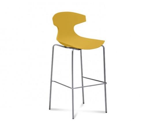 Barová židle Echo-Sgb - Barová židle (chrom, hořčicová)