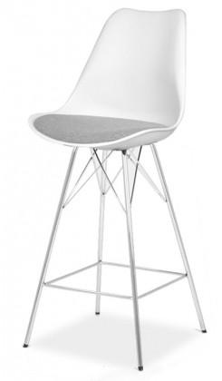 Barová židle GINA 9361-413+PORGY BAR 9340-091 (bílá,šedá,chrom)