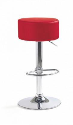 Barová židle H-23 (eco kůže červená,chrom)