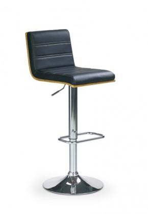 Barová židle H-31 (ořech,eco kůže černá,chrom)
