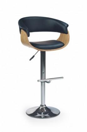 Barová židle H-45 (světlý dub,eco kůže černá,chrom)