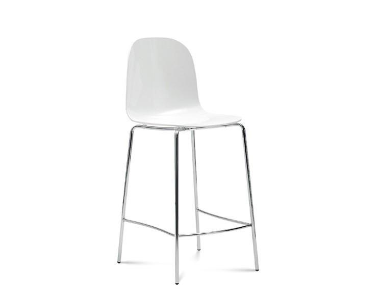 Barová židle Playa-Sgb (chromovaná ocel, bílá)