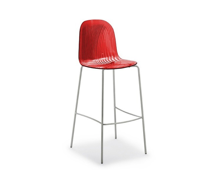 Barová židle Playa-Sgb (chromovaná ocel, červená bordó)