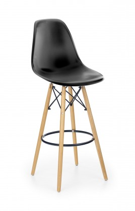 Barové židle Barová židle Gabri (plast, kov, dřevo, černá)