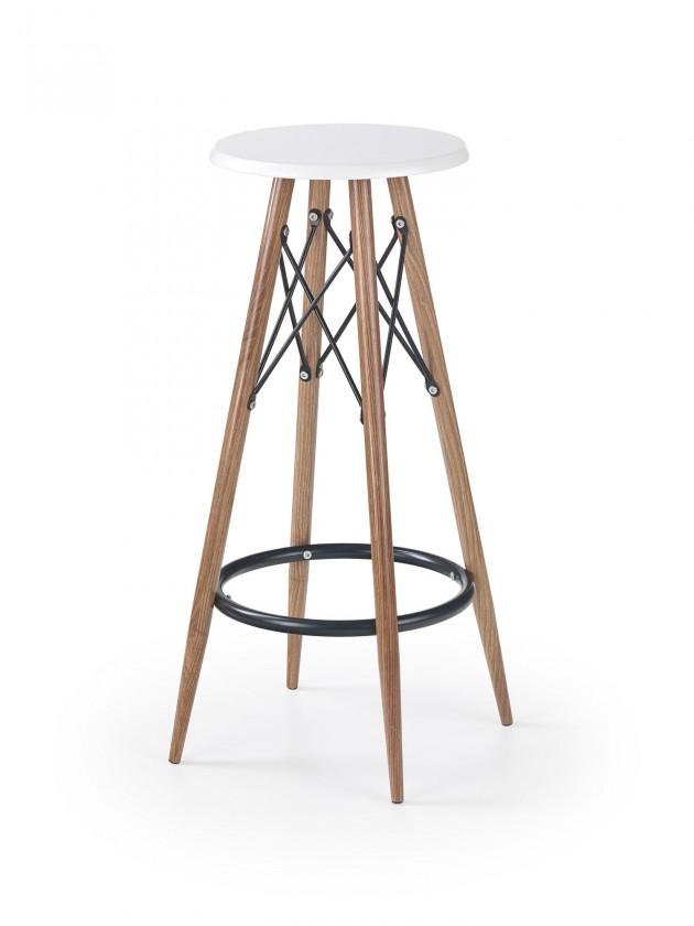 Barové židle Barová židle Jade (plast, kov, dřevo, bílá)