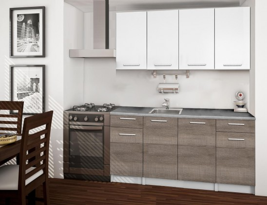 Basic - Kuchyňský blok A, 160 cm (bílá, trufle, titan)