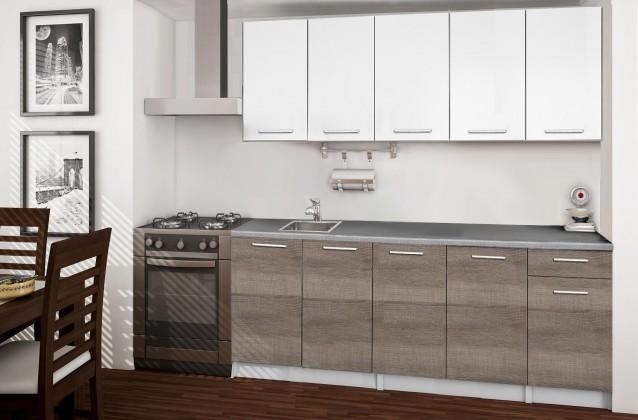Basic - Kuchyňský blok A, 200 cm (bílá, trufle, titan)